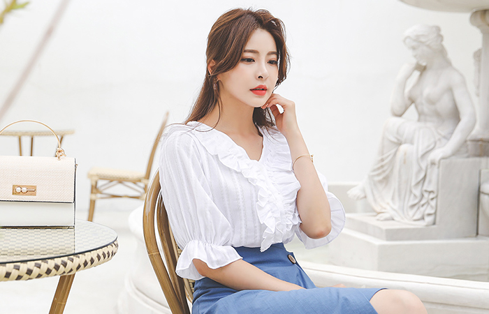 Frill Stripe Cotton Blouse