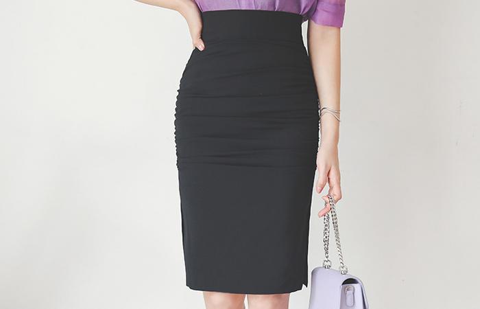 Shirring Side Slit Span Skirt