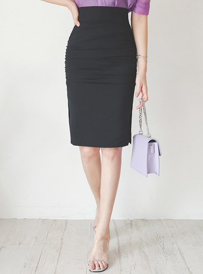 Shirring Side Slit Span Skirt