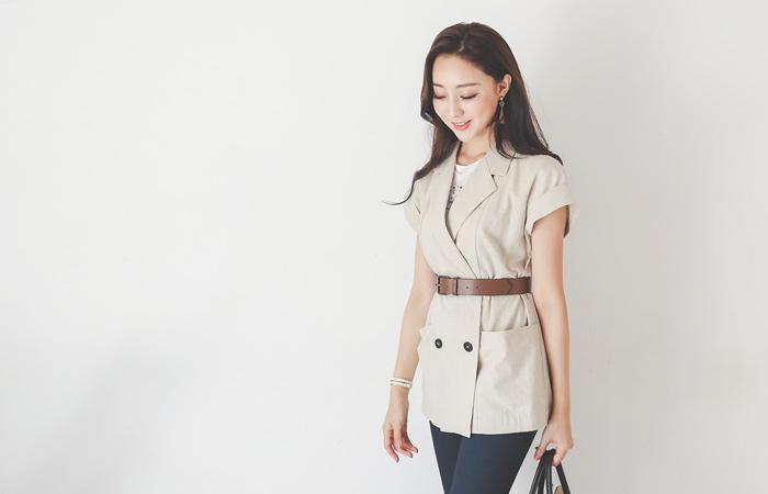 Ragran Roll-up Belted Linen Vest Jacket