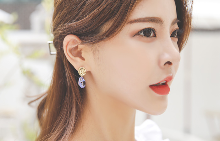 clear Color layered Earring