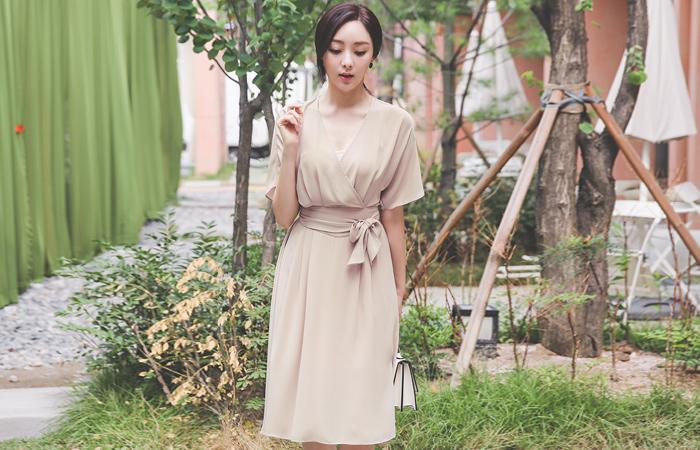 Pure Chiffon Belted Wrap-Flare Dress