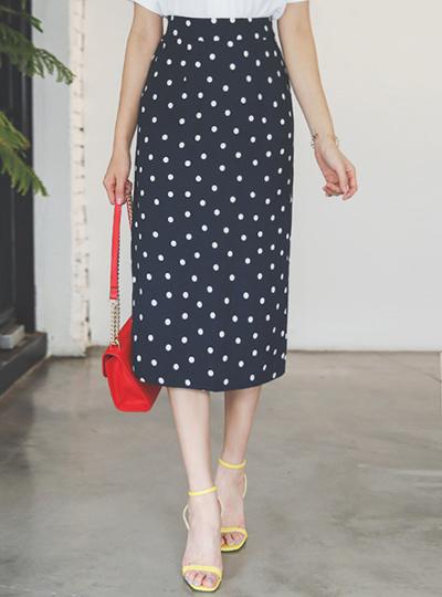 Retro Dot Back Banding Linen Midiskirt