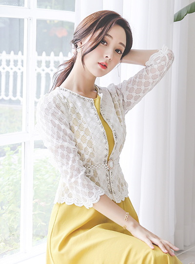 Wave Cutting Beads Lace Embroidery Cardigan