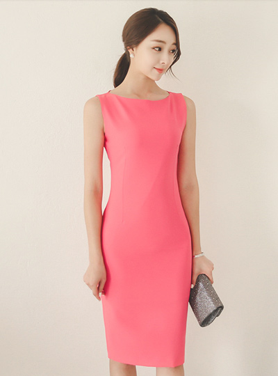 Lady Boat Neck Slimming Dress