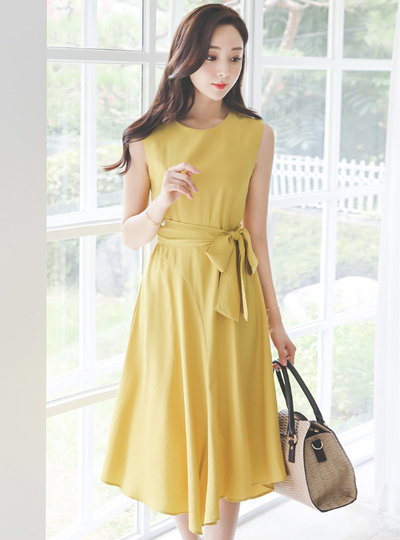 Belted Ribbon unbalance Long Sleeveless Dress