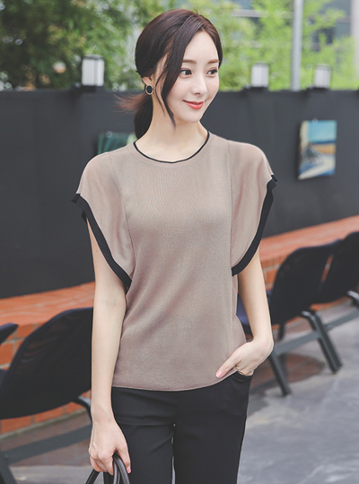 Color Combination Lining Wing Sleeves Knit