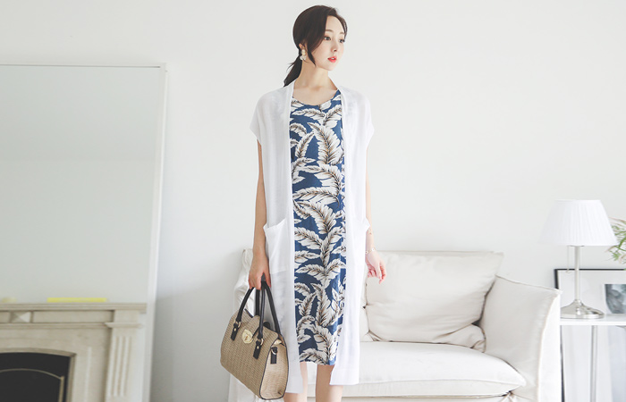 Summer Open-Type Pocket Knit Long Cardigan