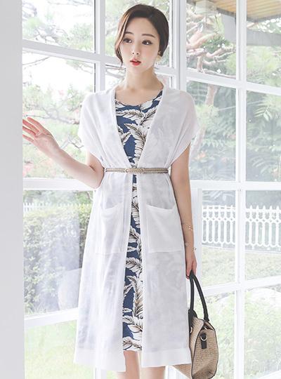 Summer Open-Type Pocket Knit Long Cardigan