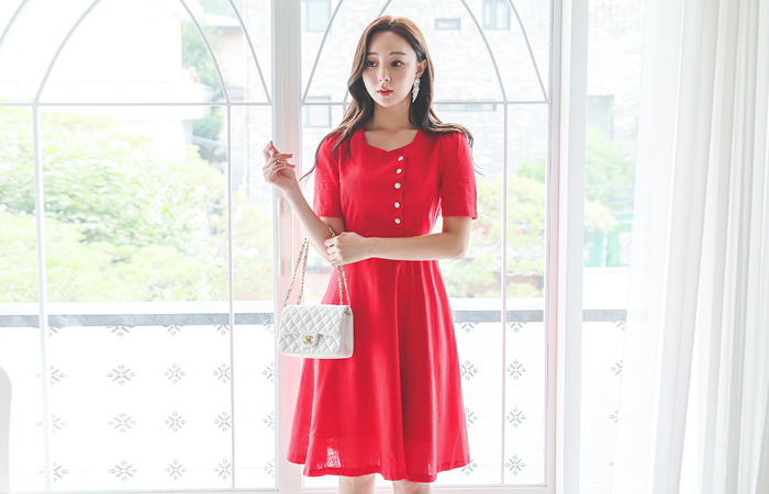 Square Neck Button Point A-line Linen Dress