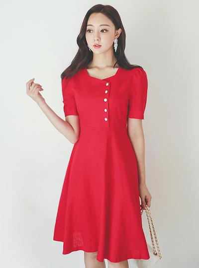 Square Neck Button Point A-line Linen Dress