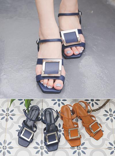 Silver Square Strap Middle Heel Sandal