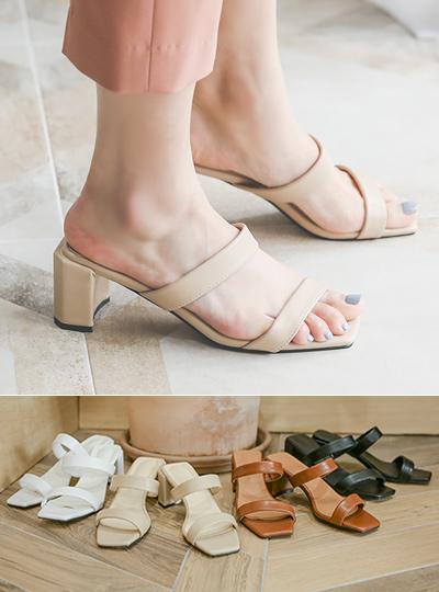 Cushion Two-Strap Block Sandal Heel