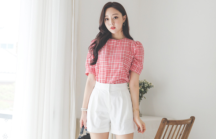 Puff Rounding Check Blouse