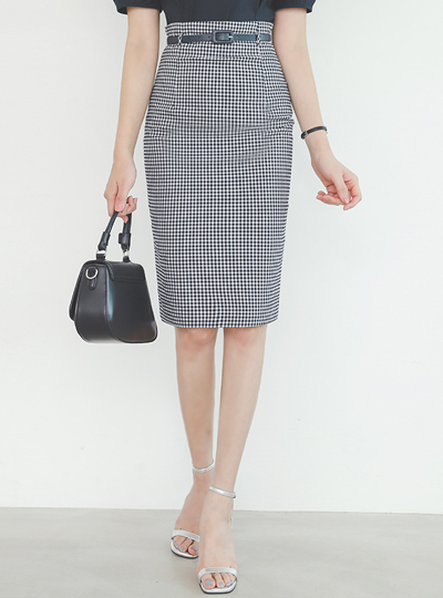 Gingham-Check H-line Belted Skirt
