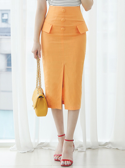 Neon Color Flap Decoration Button Skirt
