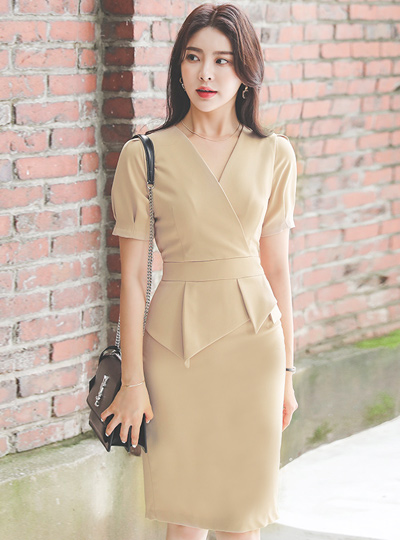 Wrap Pintuck Sleeves Unbalance Peplum Dress