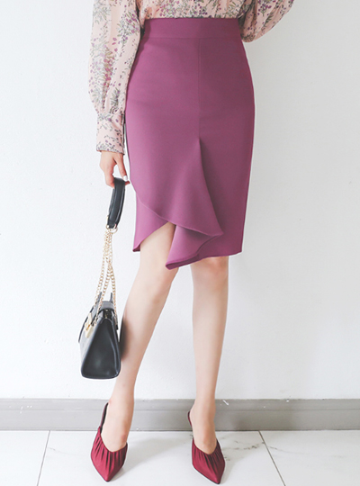 Front Cutting Unbalance Frill Slim Skirt