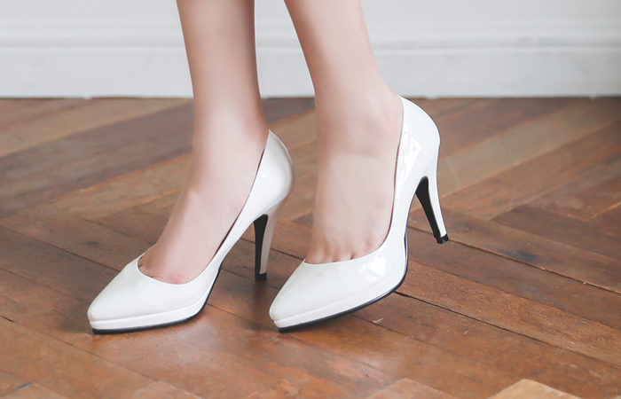 Platform shoes Enamel Simple Cushion High Heels