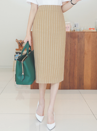 Mood Stripe Linen Midi Skirt