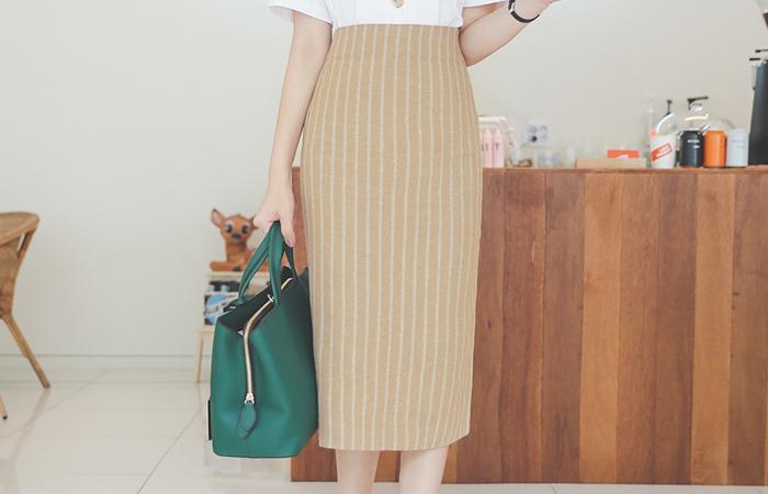 Mood Stripe Linen Midi Skirt
