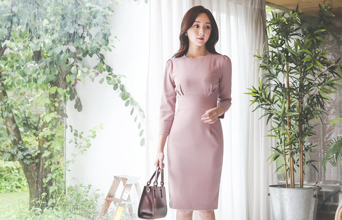 Grace Glam Shirring Slim Span Dress