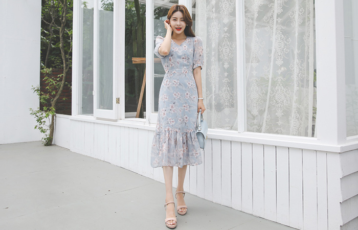 Botanical Floral Chiffon Ruffle Dress
