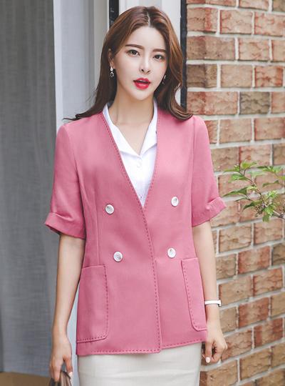 Pintuck Sleeves Stitch No-collar Linen Jacket