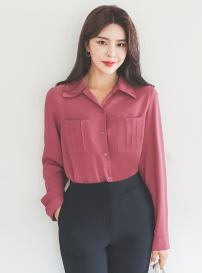 Pocket Pintuck Back-Shirring Open-Collar Blouse