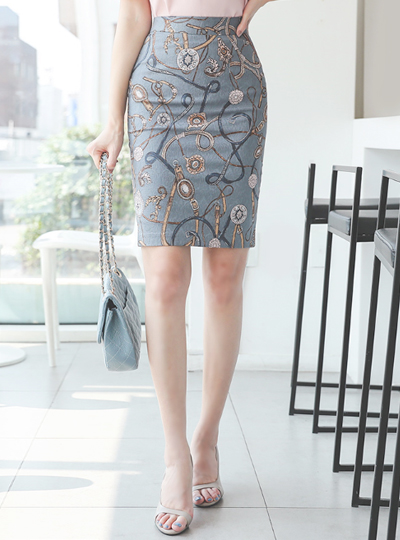 Jacquard Chain Belt Span Skirt