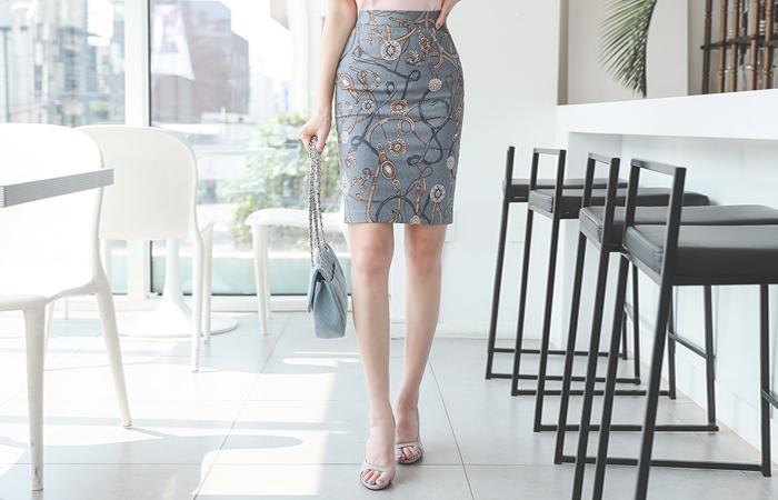 Jacquard Chain Belt Span Skirt