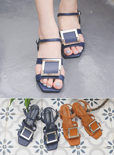 [Models wear37st]Silver Square Strap Middle Heel Sandal
