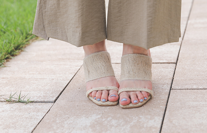 [Models wear37st]Natural Rattan Strap Sandals