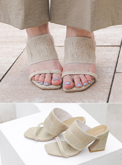 [Models wear37st]Natural Rattan Strap Sandals