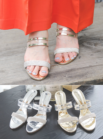 [Models wear37st]Cubic Transparent Strap Luxury Slipper Heels