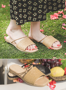 [Models wear37st]Rattan Strap Square Slippers