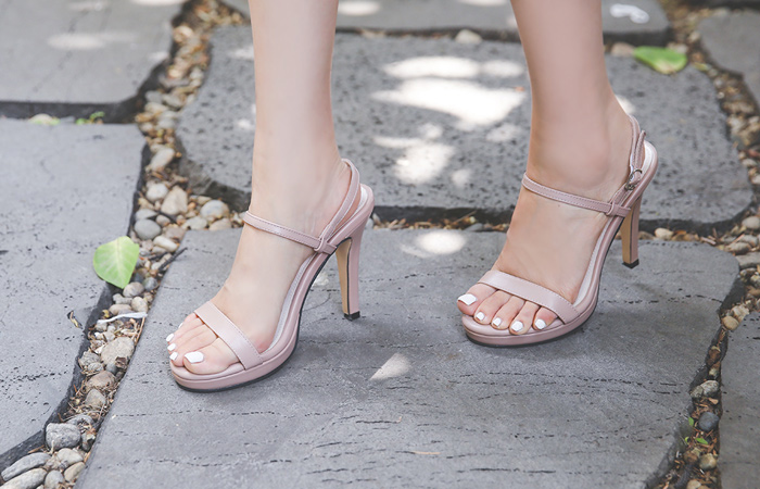 [Models wear37st]Platform shoes Simple Strap Sandal Heel