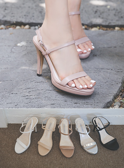 [Models wear37st]Platform shoes Simple Strap Sandal Heel