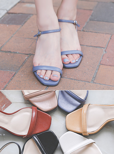 [Models wear37st]Urban Color Strap Block Sandal Heel