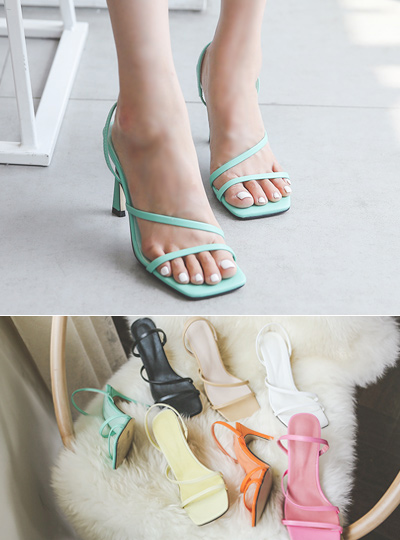 [Models wear37st]Square-Line Color Strap Heels