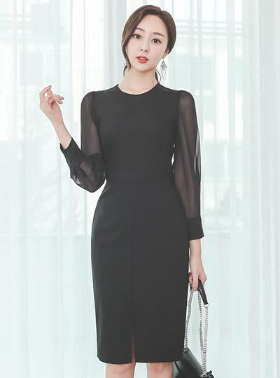 Modern See-through Sleeves Slit Dress