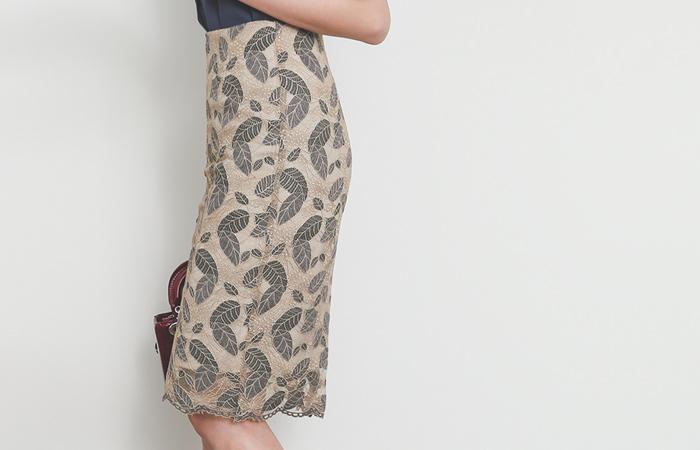 Leaf Color Combination Lace H-line Skirt