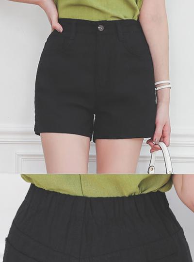 The Back Banding Linen Simple Shot-Pants