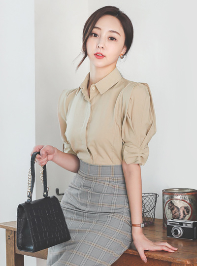 Ribbon Puff Cotton Shirt Blouse