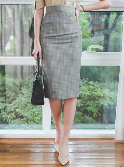 Side Shirring Check Colored Midi Skirt