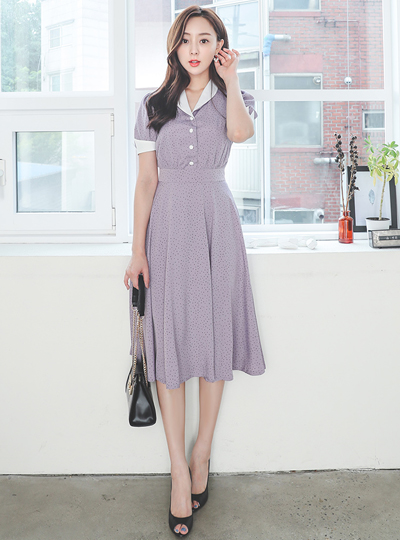 Shawl Collar Dot Flared Long Color Combination Dress