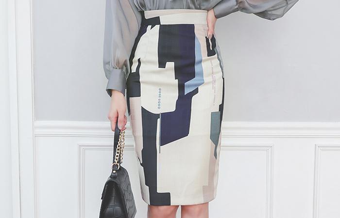 Luxury Color Combination Obi H-line Midi Skirt