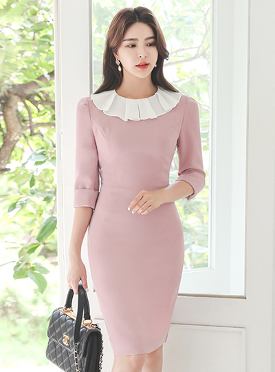 Flounce Chiffon Color Combination Collar Dress