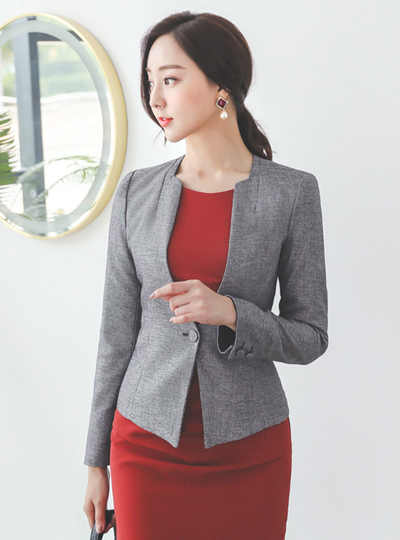 Square No-collar Colored-Sleeves Span Jacket