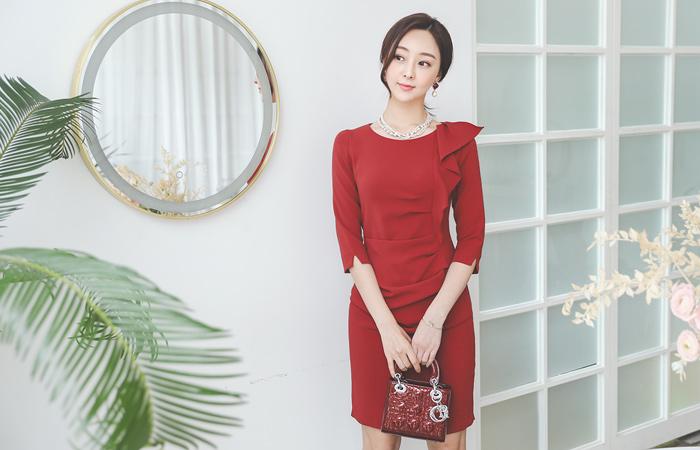 Ruffle Shirring Dress(fall)